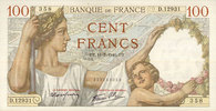 11.7.1940 NOTES OF THE BANQUE DE FRANCE Banque de France. Billet. 100 ... 45,00 EUR  +  7,00 EUR shipping