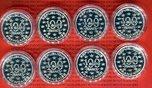8 x 100 Francs Silbermünze 1996-1997 Frank...