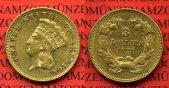 USA 3 Dollars Indian Princess Head 1874 se...
