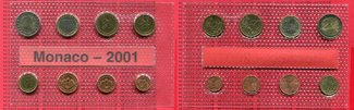 KMS 1 Cent bis 2 Euro 2001 Monaco Monaco K...
