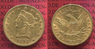 10 Dollars Gold Liberty  Eagle 1893 USA US...