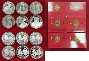 6 x 2000 Pesetas Silbermünzen Set 2000 Spa...