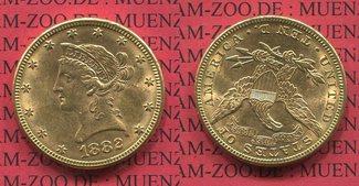 10 Dollars Gold 1882 USA Liberty, Frauenko...