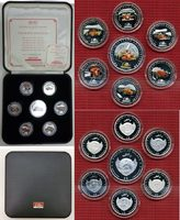 6 x 2 Dollar & 1 x 5 Dollar Silber 2007 Pa...
