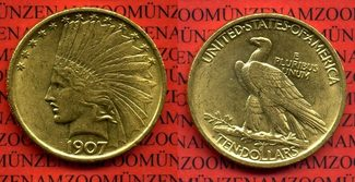 10 Dollar Eagle Indian Head, Dollars 1907 ...