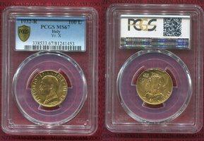 100 Lire Goldmünze 1932 R Yr X Italien Ita...