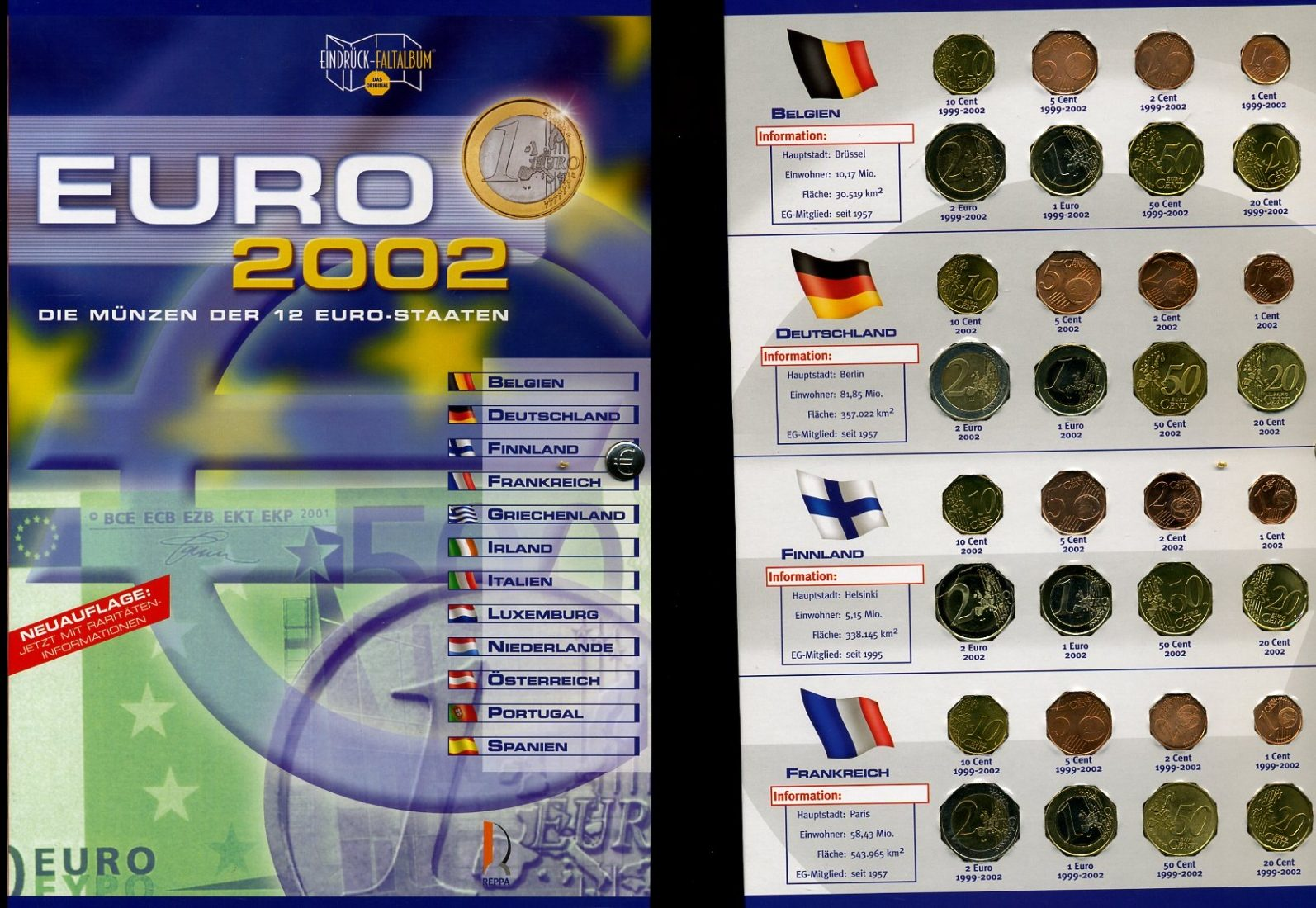 reppa folder euro 2002 mit 12 s tzen 2002 euro sammlung deutschland finnland etc reppa folder. Black Bedroom Furniture Sets. Home Design Ideas