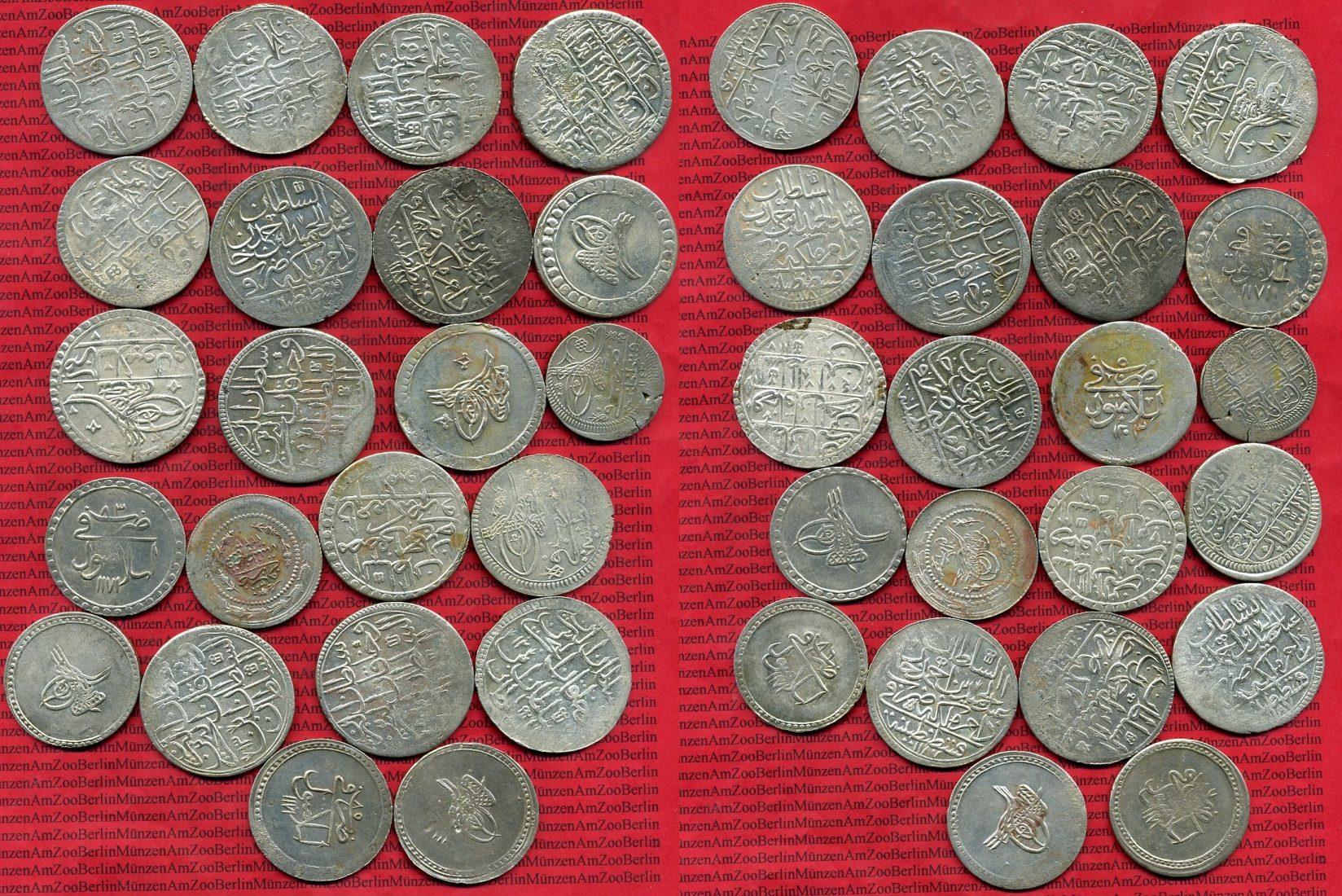 Lot Türkei 18. 19. Jhdt 22 Münzen 1800 ff Türkei Osmanisches Reich Türkei Lot von 22 Silbermünzen 18. und 19. Jahrhundert alle Sammelwürdig Lot see picture