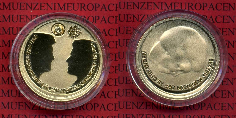 10 Euro Gold 2002 Niederlande Holland Niederlande Holland 10 Euro Gold 2002 Hochzeit Maxima PP Polierte Platte in Kapsel