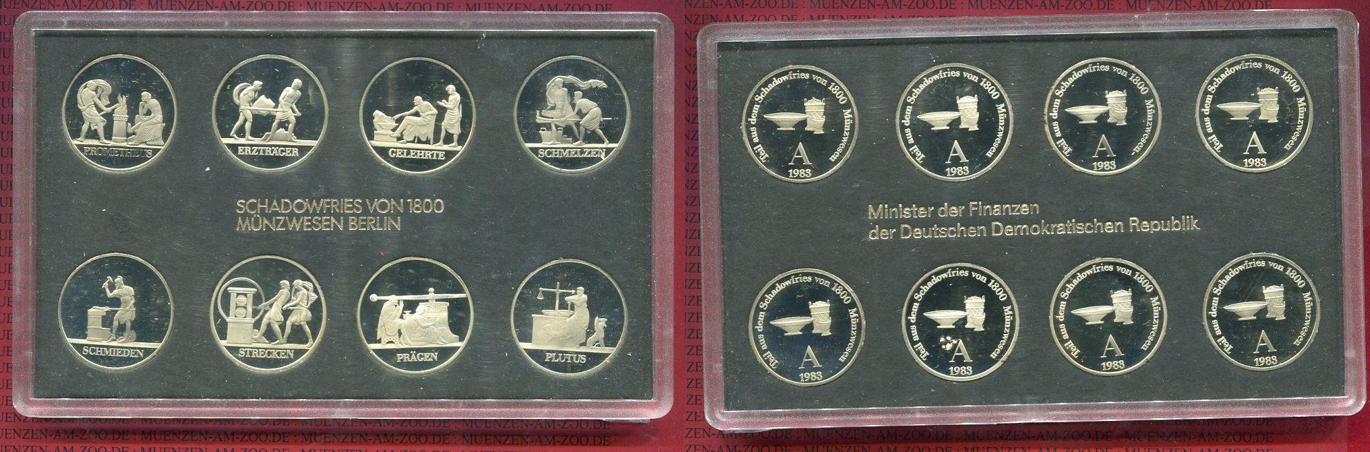 Themensatz Schadowfries von 1800 1983 DDR Schadowfries DDR Themensatz Schadowfries 8 x Medaillen in 5 Mark Größe im Satz PP sehr selten Polierte Platte in Originalverpackung