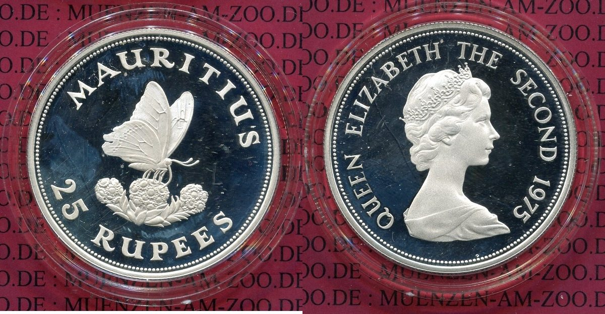 25 Rupees Silber 1975 mauritius Mauritius 25 Rupees 1975 Schmetterling WWF , Silber PP PP Proof