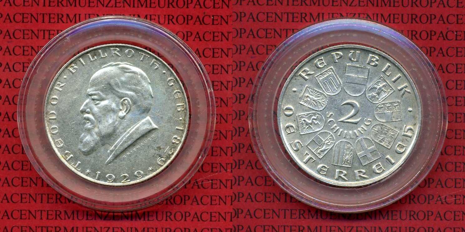 2 Schilling Gedenkmünze Silber 1929 Österreich, Austria Österreich 2 Schilling 1929 Theodor Billroth vz-prfr