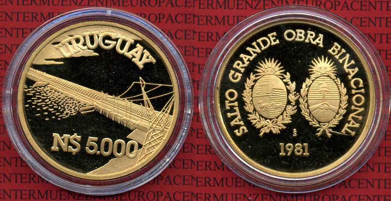 5000 N Pesoso Gold Gold 1981 Uruguay Uruguay 5000 Nuevo Pesos 1981 Staudamm mit Kraftwerk Gold proof w capsule
