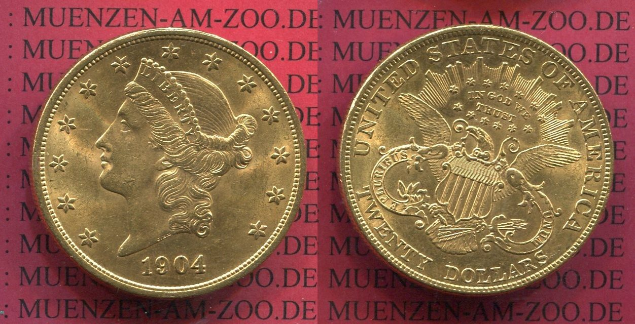 20 Dollars Gold Double Eagle 1904 USA USA 20 Dollars 1904 Gold Liberty Frauenkopf Typ Double Eagle vz, winz. rdf.
