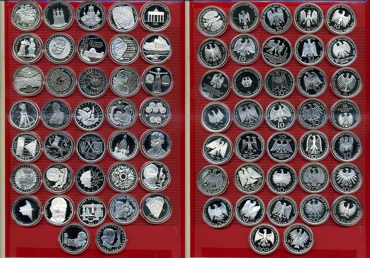 17 x 10 DM Gedenkmünzen Spiegelglanz in Originalfolien ab 750 Jahre ...
