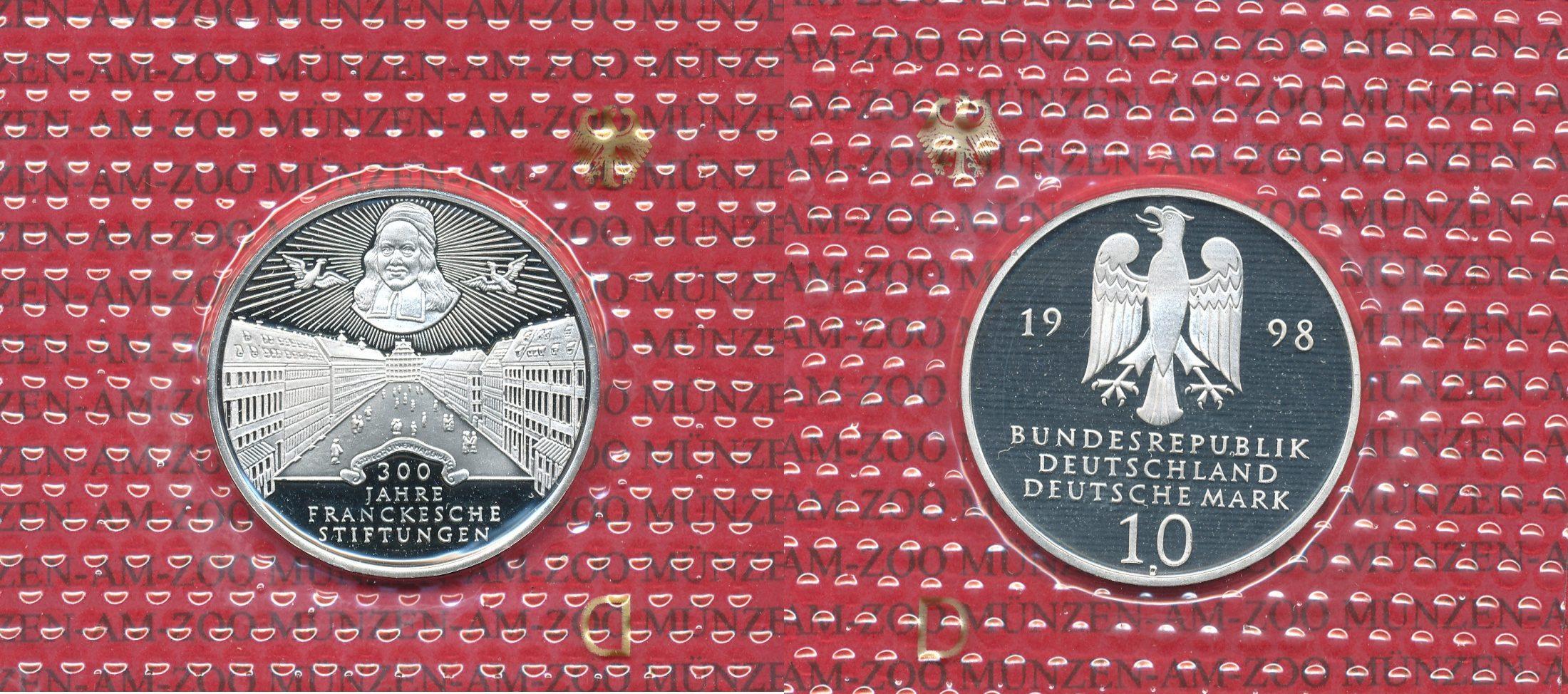 10 DM Silbermünze 1998 Bundesrepublik Deutschland Bundesrepublik Deutschland, 10 DM 1998 D 300 Jahre Franckesche Stiftungen Spiegelglanz / PP
