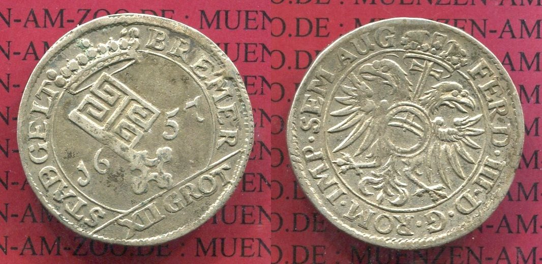 12, XII Grote 1657 Bremen Bremen 1657 12, XII Grote Silber f. vz patina