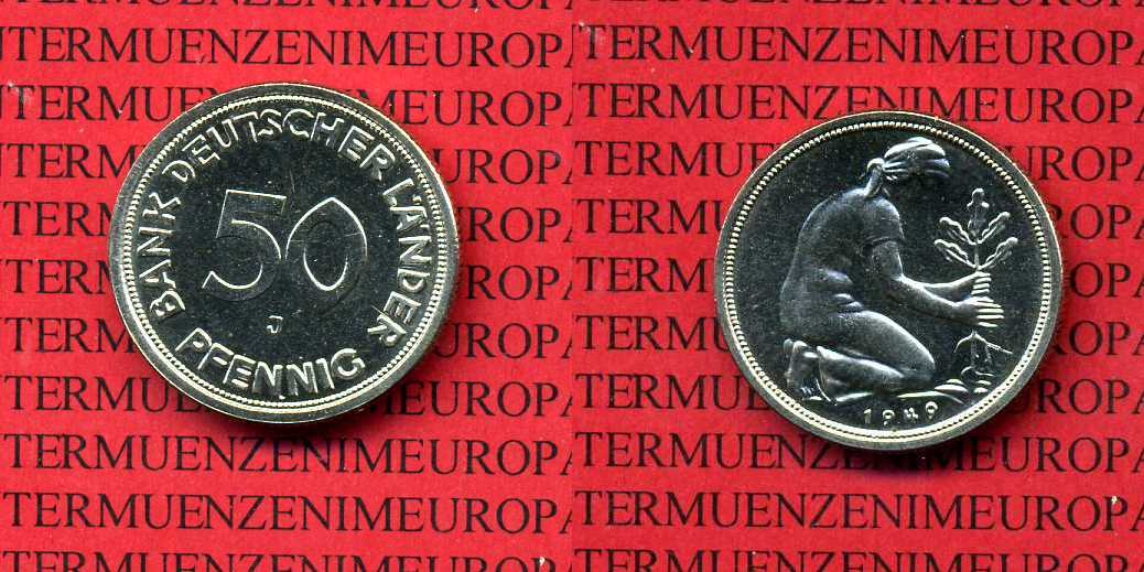 50 Pfennig 1949 J Bundesrepublik Deutschland 50 Pfennig 1949 J Bank Deutscher Länder J. 379, Polierte Platte Polierte Platte