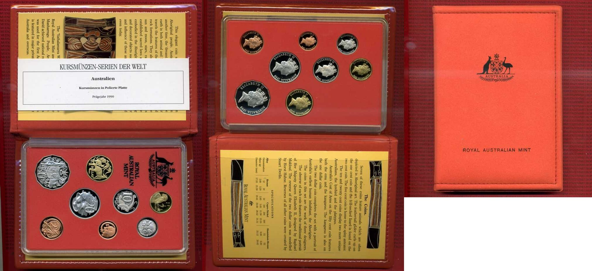 1 Cent-1 Dollar Kursmünzensatz 1990 Australien Australien Kursmünzen 1 Cent-1 Dollar 1990 Polierte Platte im Folder
