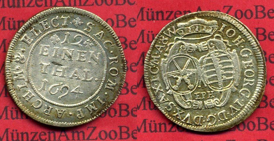 1/12 Taler Silber 1694 Sachsen Kurfürstentum Sachsen 1/12 Taler 1694 Johann Georg IV. f. Stgl. selten in dieser Erhaltung f. stgl. schrf.