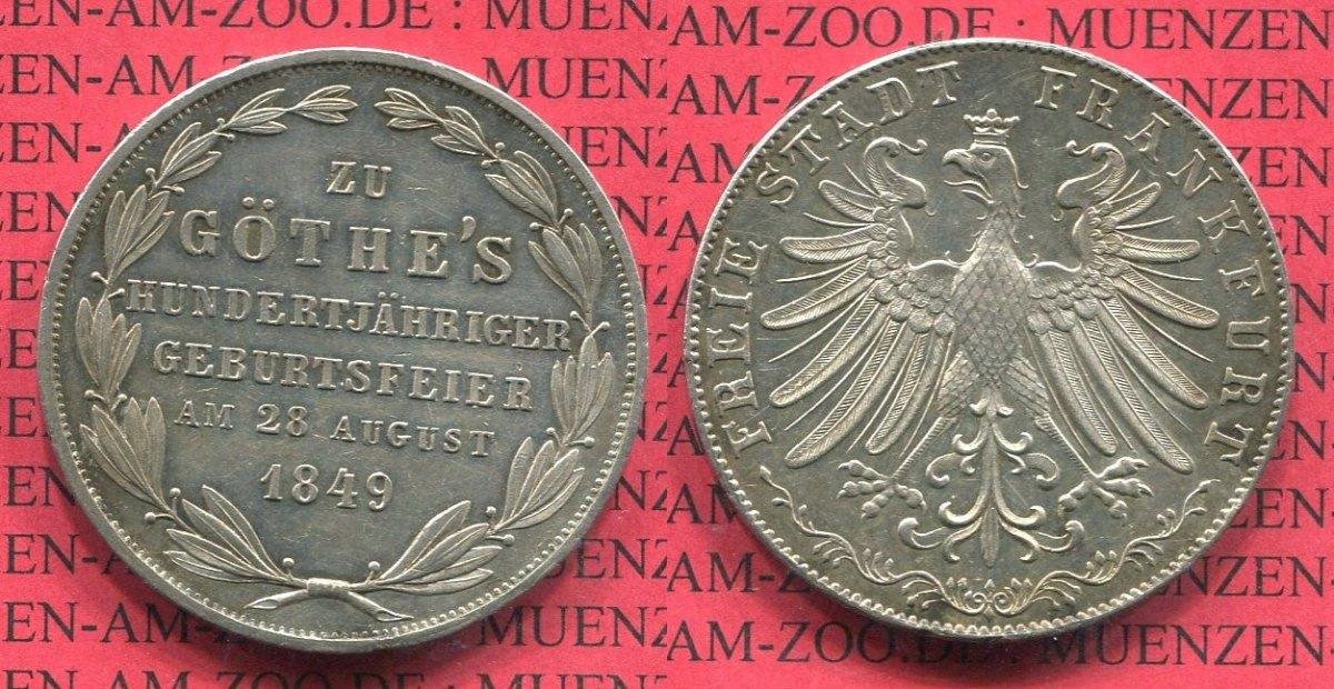 2 gulden doppelgulden 1849 frankfurt stadt frankfurt 2 gulden 1849 100 geburtstag von goethe. Black Bedroom Furniture Sets. Home Design Ideas