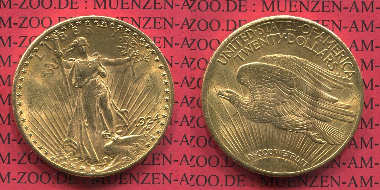 20 Dollars Gold St. Gaudens Double Eagle 1924 USA USA 20 Dollars 1924 Gold St. Gaudens Typ Double Eagle vz-prfr. vz-prfr