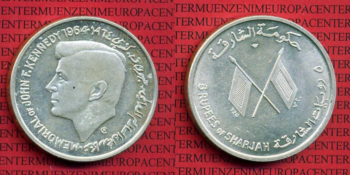 5 Rupees 1964 Sharjah, Vereinigte Arabische Emirate Sharjah, Vereinigte Arabische Emirate, 5 Rupien 1964 Kennedy Silber prfr. prfr