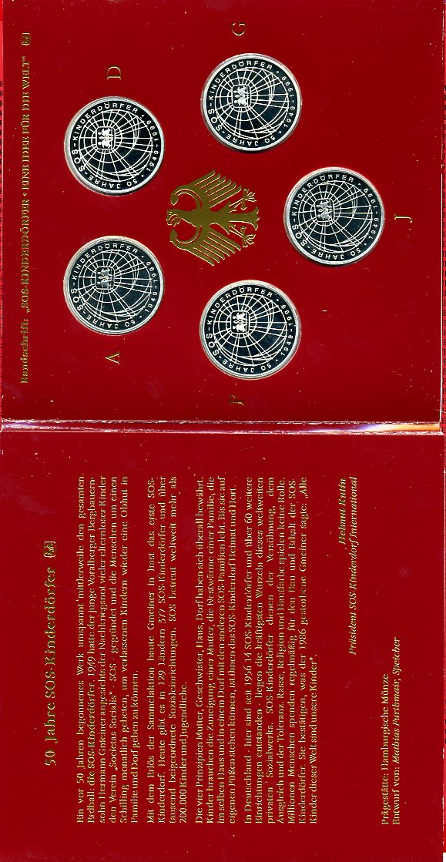 10 DM, A,D, F, G, J, Satz im Blister 1999 Bundesrepublik Deutschland 10 DM 1999 A,D,F,G,J 50 Jahre SOS Kinderdörfer Spiegelglanz im Blister german prooflike w folder