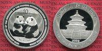 China Volksrepublik, PRC 10 Yuan Panda 1 Unze Silber Jubiläum China Panda 10 Yuan 2009 1 Unze Silber Stempelglanz 30 Jahre Panda Coins