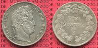 5 Francs Silber Kursmünze 1845 W Frankreic...
