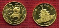 China 100 Yuan Panda, 1 Unze China 100 Yuan 1985 Gold Panda, 1 Unze Stempelglanz mit Kapsel Selten !
