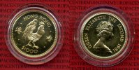 Hong Kong 1000 Dollars Lunar Serie Hong Kong 1000 Dollars 1979, Gold Lunar Serie Jahr des Huhns Rooster 15,97 g 917