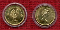 Hong Kong 1000 Dollars Lunar Serie Hong Kong 1000 Dollars 1979, Gold Lunar Serie Jahr des Huhns Chicken 15,97 g 917