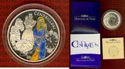 """Frankreich 1 1/2 Euro Silbermünze, Farbmünze Frankreich 1,5 Euro 2002, Aschenputtel """"Cendrillon"""" Farbmünze  OVP"""