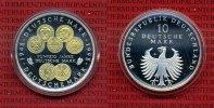 Bundesrepublik Deutschland 10 DM Silbermünze 1998 10 D-Mark BRD 50 Jahre Deutsche Mark teilvergoldet Kapsel