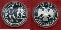 Russland Russia 3 Rubel Silbermünze 1 Unze Russland 3 Rubel 1993 Olympiade Fußball Silber PP mit Kapsel