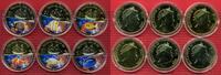 Fiji,  Schiffe 6 x 1 Dollar Vergoldet Fiji 6 x 1 Dollar 2009 Farbmünzen Tropische Fische der Fidschi Inseln