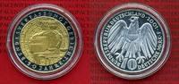 Bundesrepublik Deutschland 10 DM Silbermünze mit Goldapplikation 10 DM 2001, 50 Jahre Bundesverfassungsgericht, teilvergoldet