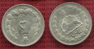 Persien Iran 5 Dinar  Silbermünze Iran 5 Rials 1313 AH Silber 1932