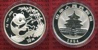 China Volksrepublik PRC 10 Yuan Panda 1 Unze Silber China Panda 10 Yuan 1994 1 Unze Silber Stempelglanz  Large Date