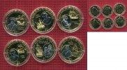 Fiji,  Fidschi Inseln 6 x 1 Dollar Vergoldet mit Rhodium Fiji 6 x 1 Dollar 2009 Farbmünzen Entdecker cu/ vergoldet mit Rhodium Satz