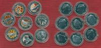 Fiji,  Tiermotive, Elefant, Panda, Tiger 8 x 1 Dollar Farbmünzen Tiermotive Fiji 8 x 1 Dollar 2009 Farbmünzen Tiermotive cu/versilbert mit Kapseln Satz