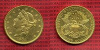 USA 20 Dollars Double Eagle Goldmünze USA 20 Dollars Liberty, Double Eagle  Frauenkopf, 1904 Gold vz