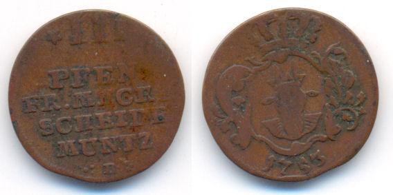 Mecklenburg Strelitz: Adolf Fr Iv , 1752-1794 3 Pfennig 1753