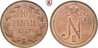 10 Penniä 1907 Finnland Unter russischer Herrschaft, Nikolaus II., 1894... 50,00 EUR  +  10,00 EUR shipping