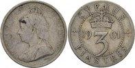 3 Piaster 1901 Zypern Victoria ss-  35,00 EUR