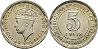 5 Cents 1941 Malaysia George VI. Schrötlingsfehler, fast Stgl.  10,00 EUR