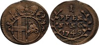 Pfennig 1745 Fulda, Abtei Amand v. Buseck, 1737-1756 ss  48,00 EUR  zzgl. 3,00 EUR Versand