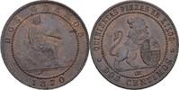 2 Centimos 1870 OM Spanien Prov. Regierung fast prägefrisch  30,00 EUR  zzgl. 3,00 EUR Versand