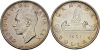 1 Dollar 1951 Kanada George VI., 1936-52 vz+  50,00 EUR  zzgl. 3,00 EUR Versand